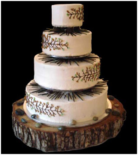 Pine Themed Wedding Cake